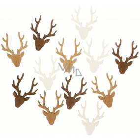 Antlers wooden white-brown-natural 4 cm 12 pieces