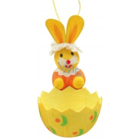 Bunny with a yellow basket 12 x 6 cm
