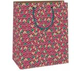 Gift bag C medium - beige - bordeaux - green patterns