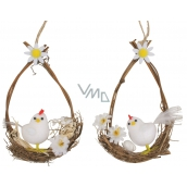 White plush hen in an oval for hanging 14 cm 1 piece