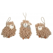 Sheep brown curly 8 cm for hanging 1 piece