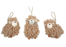 Brown curly lamb 8 cm for hanging 1 piece