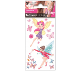 Colorful children's tattoo decals with glitters Fairies 10.5 x 6 cm