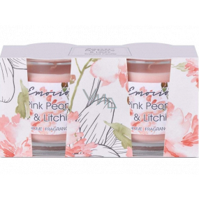 Emocio Pink Peony & Litchi - Peony and lychee scented candle glass 50 x 63 mm 2 pieces in a box