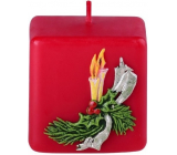 Emocio Scented candle red with a cube twig 50 x 50 mm