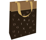 Nekupto Gift paper bag 11 x 17.5 x 8 cm Brown with letters 001 IE