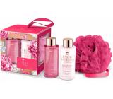 Grace Cole Pink Peony & Vetiver shower gel 100 ml + body lotion 100 ml + bath washcloth, cosmetic set