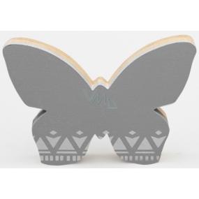 Nekupto Home Decor Wooden decoration bow tie gray 12 x 8 cm