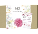 Fenjal Floral Fantasy shower gel for women 200 ml + body lotion 200 ml + washing sponge, cosmetic set