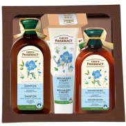 Green Pharmacy Chamomile and linseed oil shampoo for colored hair 350 ml + hair conditioner 300 ml + hand cream 100 ml + cranberry lip balm 3.6 g, cosmetic set