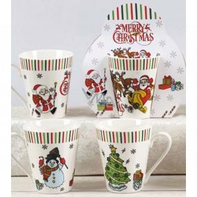 Christmas ceramic mug design mix Santa, Snowman, Tree 310 ml