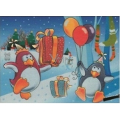 Magic painting with water with a brush Penguins with balloons 20 x 15 cm