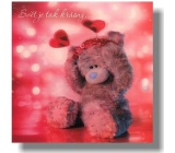 Me to You Envelope Greeting Card 3D World is so beautiful Bear with a headband 15.5 x 15.5 cm
