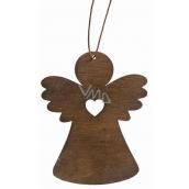 Wooden angel hanging 8 cm, dark brown
