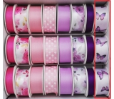 Ditipo Ribbon satin 3 mx 25 mm purple butterfly