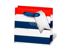 BSB Luxury gift paper bag 14.5 x 15 x 6 cm Blue-white stripes LDT 392 - CD