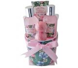 Salsa Collection White Rose and Pajamas shower gel 100 ml + body lotion 50 ml + bath foam 50 ml + bath salt 2 x 20 g, 4-piece ceramic flowerpot