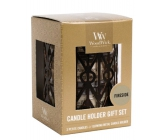 WoodWick Gift set 3pcs petite + candlestick Gemometric 9471