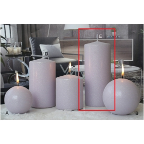 Lima Ice pastel candle light purple cylinder 80 x 200 mm