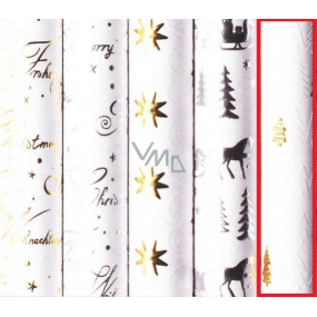 Zöwie Gift wrapping paper 70 x 150 cm Christmas Luxury White Christmas natural golden trees