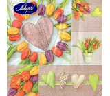 Nekupto Paper napkins Easter Heart, around tulips 3 ply 33 x 33 cm 20 pieces