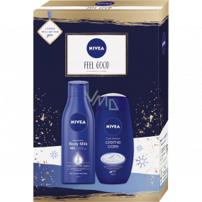 Nivea Feel Good nourishing body lotion 250 ml + shower gel 250 ml, cosmetic set for women