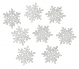 Wooden flakes with silver glitter 5 cm 8 pieces