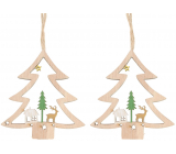 Wooden hanging tree 8 cm 2 pieces