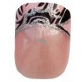Diva & Nice Natureasy Nails Decorated sticky nails pink with black-pink application 24 pieces