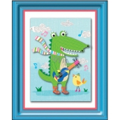 Room Decor Sticker 3D image of a crocodile with a guitar 32 x 25 cm