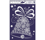 Room Decor Window film without adhesive with glitter, pictures of snowflakes bell 30 x 20 cm