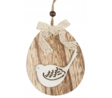 Ovalek to hang a wooden bird, butterfly 11 cm