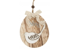 Bird oval for hanging wooden 11 cm