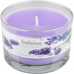 Bolsius Aromatic French Lavender - French Lavender scented candle in glass 90 x 65 mm 247 g burning time approx. 30 hours