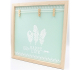 Nekupto Home Decor Wooden board with 3 pegs green 30 x 30 cm