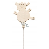 Wooden Sheep 8 cm White + Wire