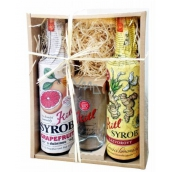 Kitl Syrob Bio Grapefruit with pulp 500 ml + Ginger syrup for homemade lemonade 500 ml + glass 200 ml, gift box