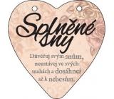 Albi Závěsná plaketka srdce Splněné sny 9 cm × 10 cm