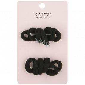 Hair bands black basic 3 cm 12 pieces