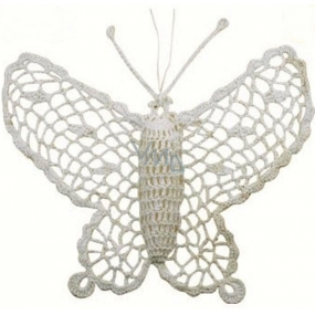 Crochet butterfly large approx. 16 cm white