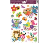 Room Decor Window foil without glue left flower with ladybug with owls 30 x 20 cm