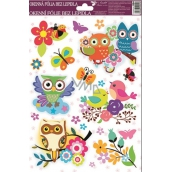 Room Decor Window film without glue left flower with ladybird with owls 30 x 20 cm