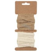 Ribbon jute brown and cream width 1 cm, 2x2 m 2846 7213