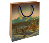 Nekupto Gift kraft bag 25 x 8 x 19 cm Christmas winter landscape 597 WKHM