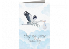 Nekupto Birthday card Stork with baby blue 115 x 170 mm 3601 F