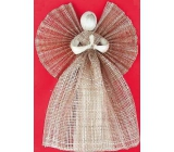 Burlap angel, wide skirt brown 34 cm