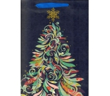 Ditipo Gift paper bag Glitter 26.4 x 13.6 x 32.7 cm blue, tree color QAB