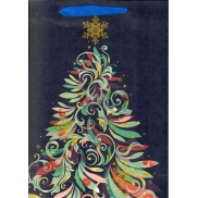 Ditipo Gift Paper Bag Glitter Blue Tree Colorful QAB