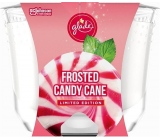 Glade Maxi Frosted Candy Cane with the scent of vanilla cream and peppermint scented candle in a glass, burning time up to 52 hours 224 g