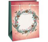 Ditipo Gift kraft bag 27 x 12 x 37 cm pink wreath